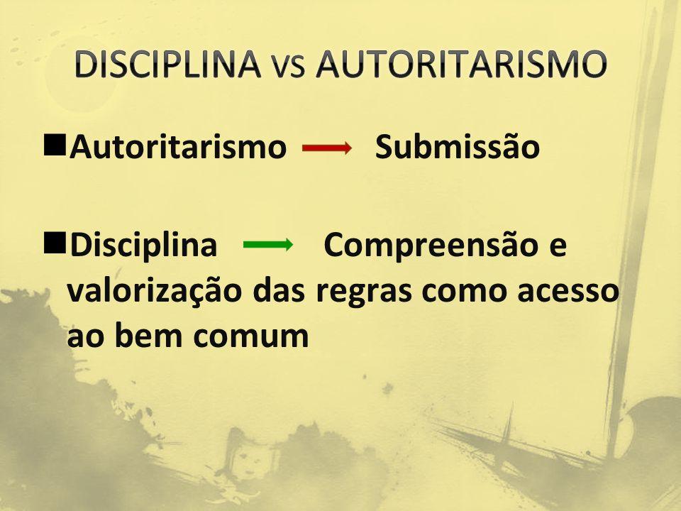 Autoritarismo Submissão Disciplina Compreensão e valorização das regras como acesso ao bem comum