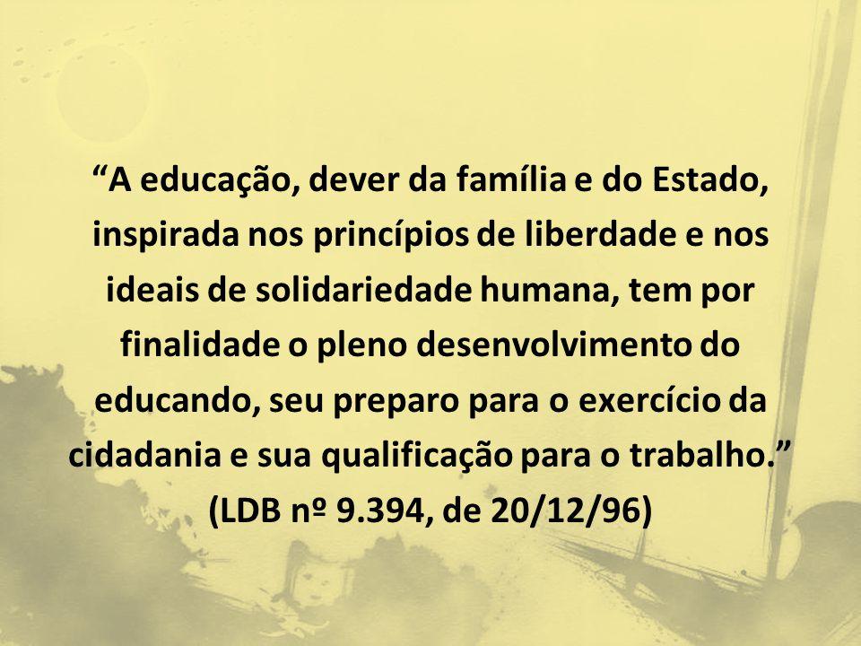A educação, dever da família e do Estado, inspirada nos princípios de liberdade e nos ideais de solidariedade humana, tem por finalidade o pleno desenvolvimento do educando, seu preparo para o exercício da cidadania e sua qualificação para o trabalho. (LDB nº 9.394, de 20/12/96)