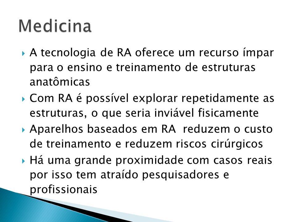  A tecnologia de RA oferece um recurso ímpar para o ensino e treinamento de estruturas anatômicas  Com RA é possível explorar repetidamente as estruturas, o que seria inviável fisicamente  Aparelhos baseados em RA reduzem o custo de treinamento e reduzem riscos cirúrgicos  Há uma grande proximidade com casos reais por isso tem atraído pesquisadores e profissionais