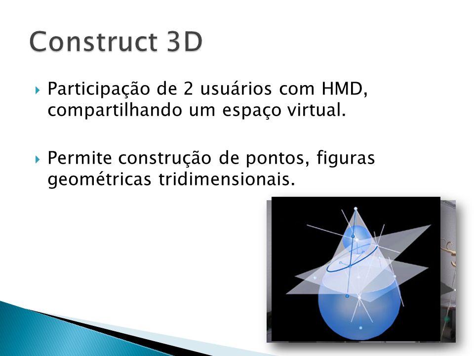  Participação de 2 usuários com HMD, compartilhando um espaço virtual.