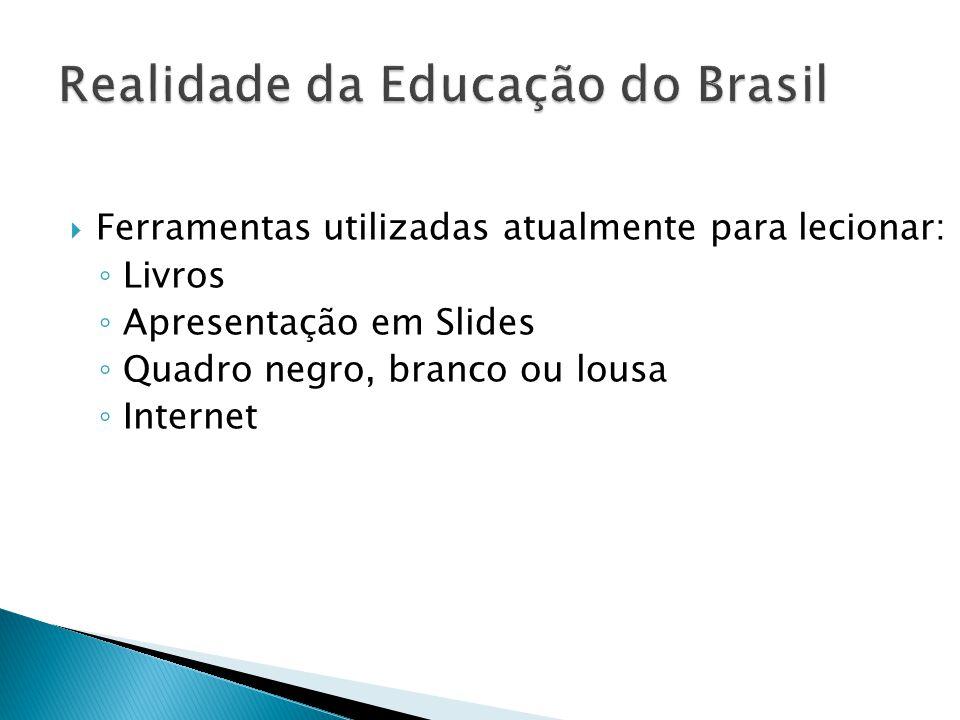  Ferramentas utilizadas atualmente para lecionar: ◦ Livros ◦ Apresentação em Slides ◦ Quadro negro, branco ou lousa ◦ Internet
