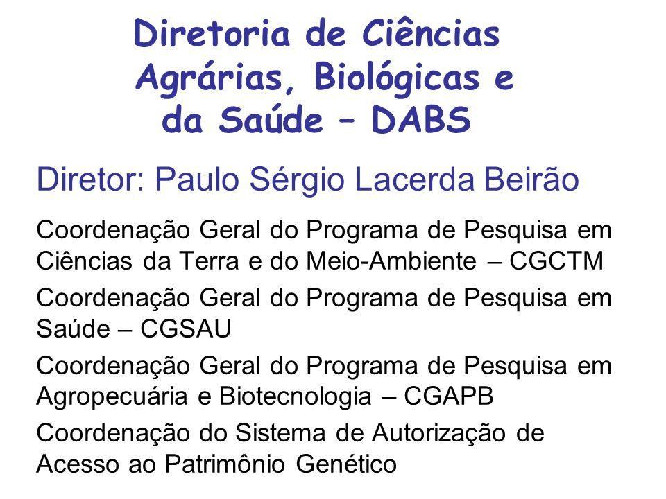 Diretoria de Ciências Agrárias, Biológicas e da Saúde – DABS Diretor: Paulo Sérgio Lacerda Beirão Coordenação Geral do Programa de Pesquisa em Ciências da Terra e do Meio-Ambiente – CGCTM Coordenação Geral do Programa de Pesquisa em Saúde – CGSAU Coordenação Geral do Programa de Pesquisa em Agropecuária e Biotecnologia – CGAPB Coordenação do Sistema de Autorização de Acesso ao Patrimônio Genético
