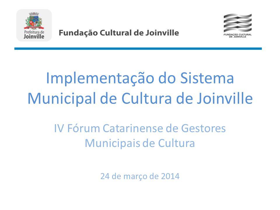 Implementação do Sistema Municipal de Cultura de Joinville IV Fórum Catarinense de Gestores Municipais de Cultura 24 de março de 2014