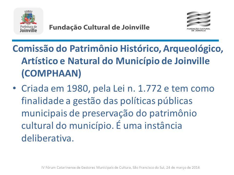 Comissão do Patrimônio Histórico, Arqueológico, Artístico e Natural do Município de Joinville (COMPHAAN) Criada em 1980, pela Lei n. 1.772 e tem como