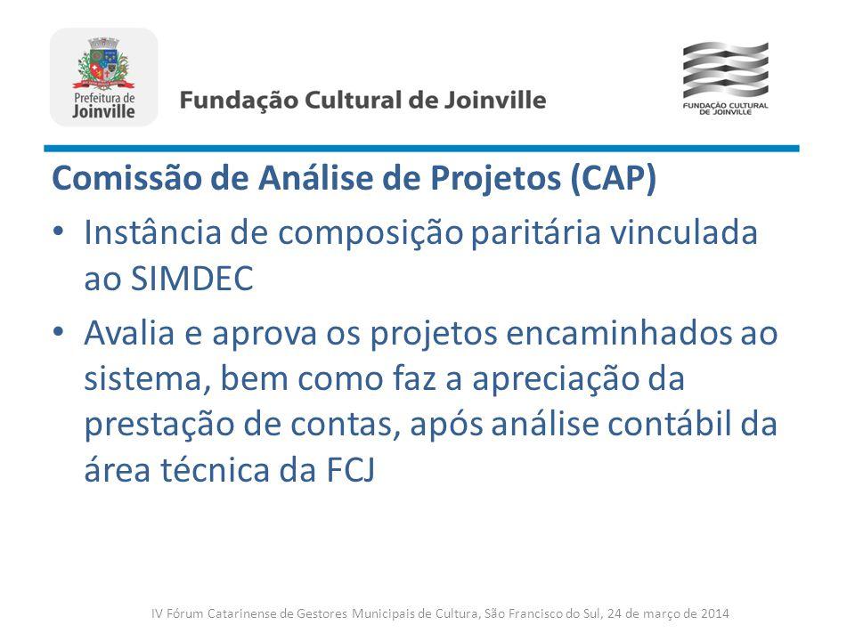 Comissão de Análise de Projetos (CAP) Instância de composição paritária vinculada ao SIMDEC Avalia e aprova os projetos encaminhados ao sistema, bem c
