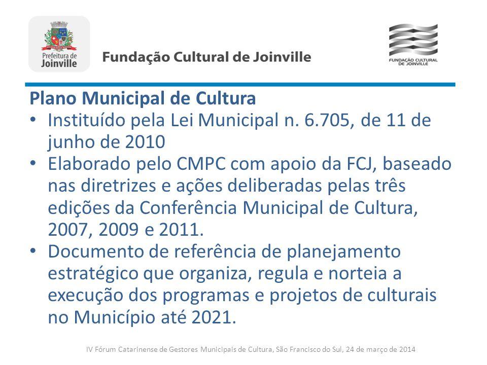 Plano Municipal de Cultura Instituído pela Lei Municipal n. 6.705, de 11 de junho de 2010 Elaborado pelo CMPC com apoio da FCJ, baseado nas diretrizes