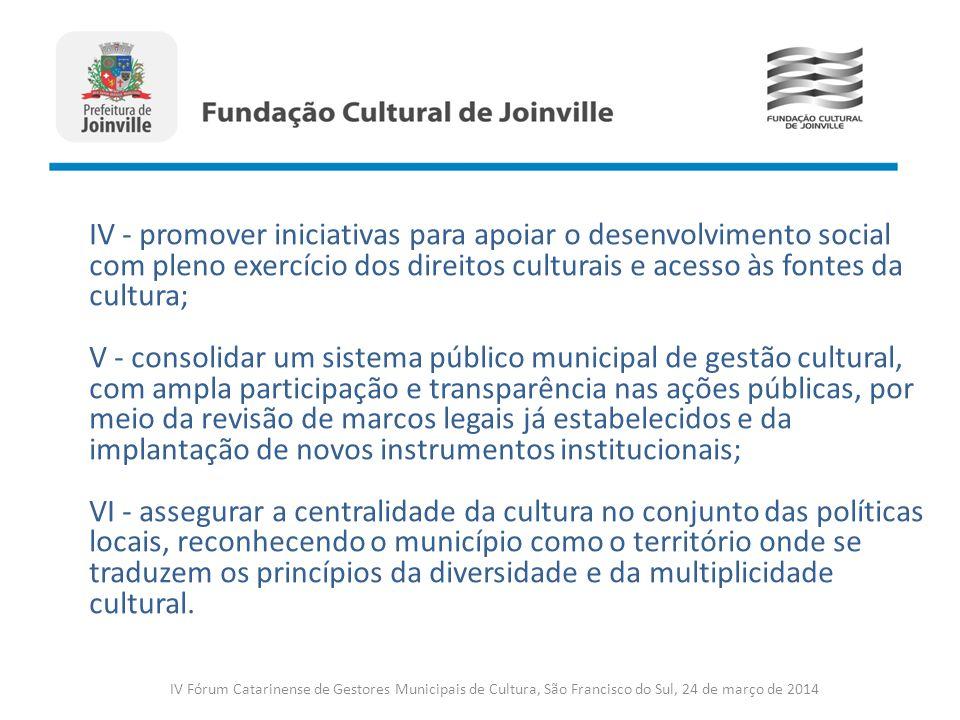 IV Fórum Catarinense de Gestores Municipais de Cultura, São Francisco do Sul, 24 de março de 2014 IV - promover iniciativas para apoiar o desenvolvime