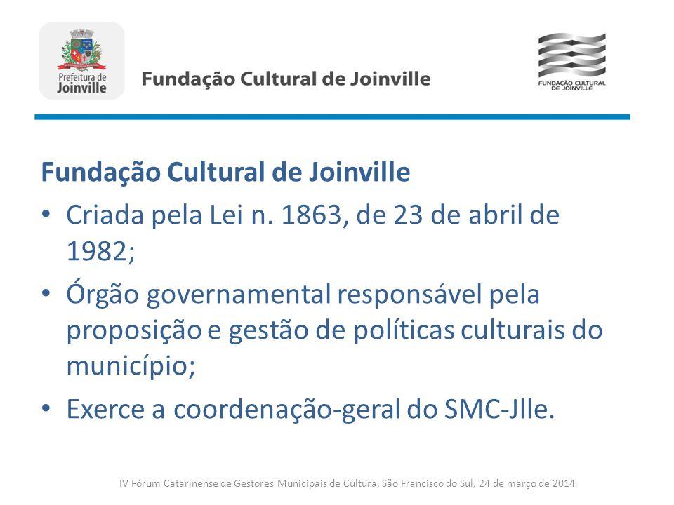 Fundação Cultural de Joinville Criada pela Lei n. 1863, de 23 de abril de 1982; Órgão governamental responsável pela proposição e gestão de políticas
