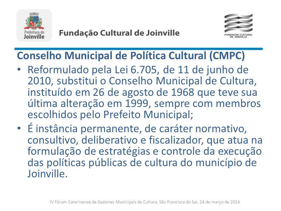 Conselho Municipal de Política Cultural (CMPC) Reformulado pela Lei 6.705, de 11 de junho de 2010, substitui o Conselho Municipal de Cultura, instituí