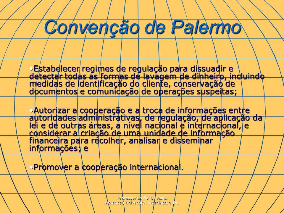 Professor Emilio C. Viano American University, Washington DC Convenção de Palermo Estabelecer regimes de regulação para dissuadir e detectar todas as