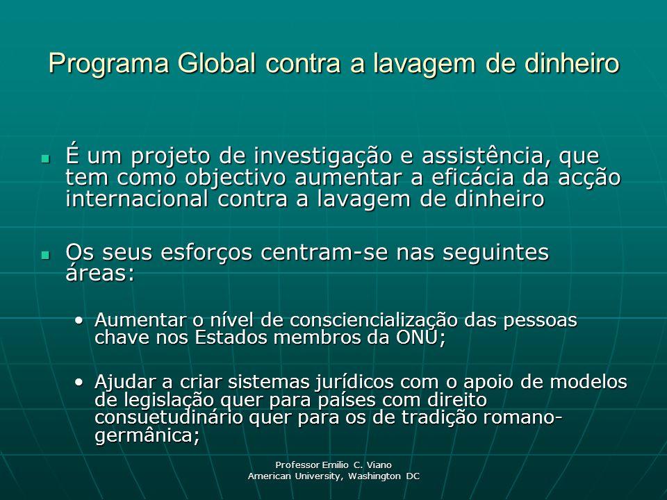 Professor Emilio C. Viano American University, Washington DC Programa Global contra a lavagem de dinheiro É um projeto de investigação e assistência,