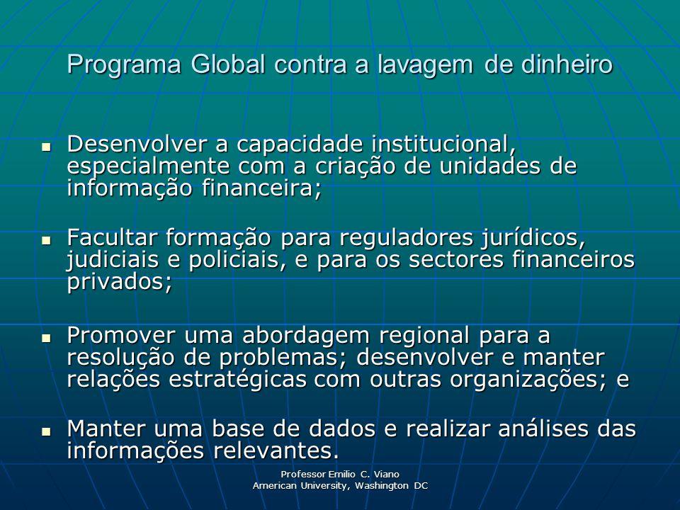 Professor Emilio C. Viano American University, Washington DC Programa Global contra a lavagem de dinheiro Desenvolver a capacidade institucional, espe