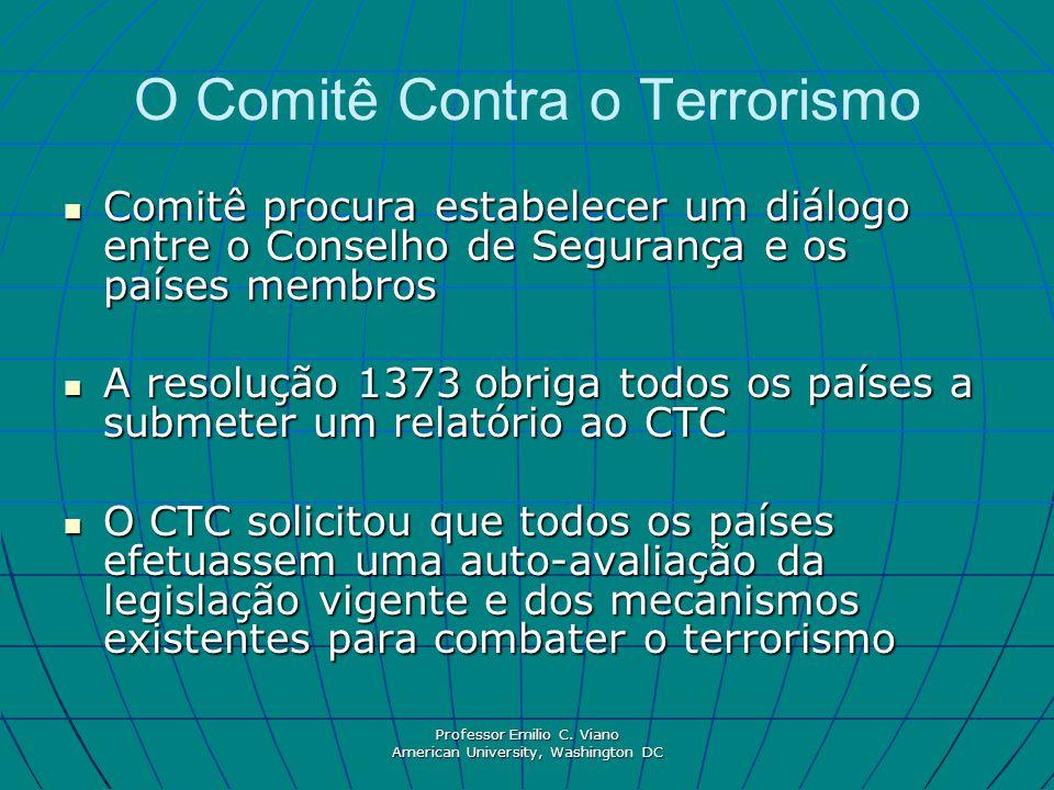 Professor Emilio C. Viano American University, Washington DC O Comitê Contra o Terrorismo Comitê procura estabelecer um diálogo entre o Conselho de Se