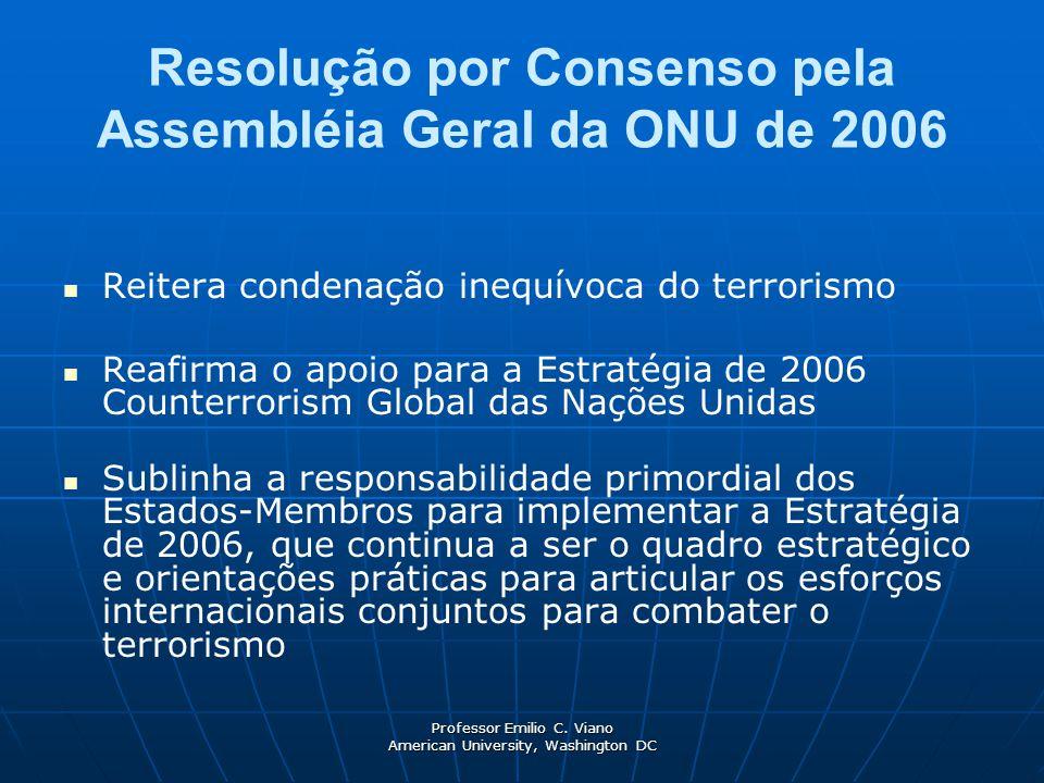 Professor Emilio C. Viano American University, Washington DC Resolução por Consenso pela Assembléia Geral da ONU de 2006 Reitera condenação inequívoca