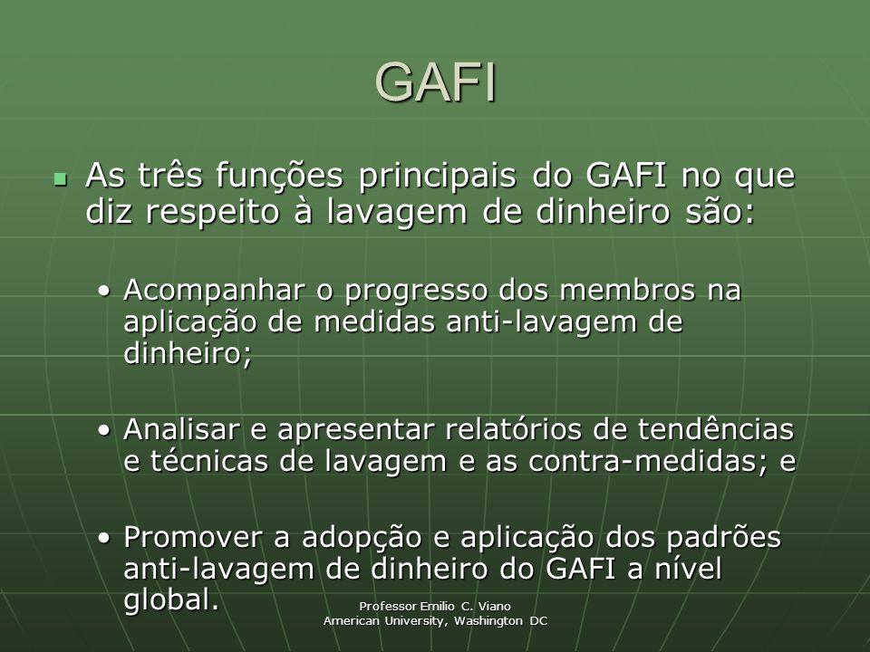 Professor Emilio C. Viano American University, Washington DC GAFI As três funções principais do GAFI no que diz respeito à lavagem de dinheiro são: As