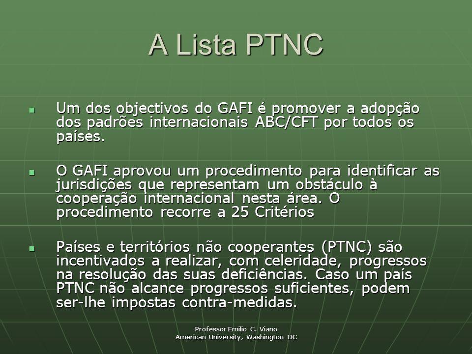 Professor Emilio C. Viano American University, Washington DC A Lista PTNC Um dos objectivos do GAFI é promover a adopção dos padrões internacionais AB
