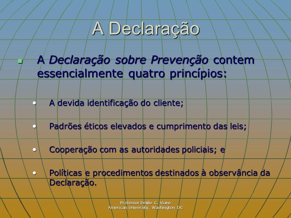 Professor Emilio C. Viano American University, Washington DC A Declaração A Declaração sobre Prevenção contem essencialmente quatro princípios: A Decl