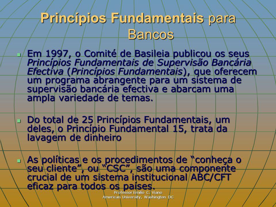 Professor Emilio C. Viano American University, Washington DC Princípios Fundamentais para Bancos Em 1997, o Comité de Basileia publicou os seus Princí