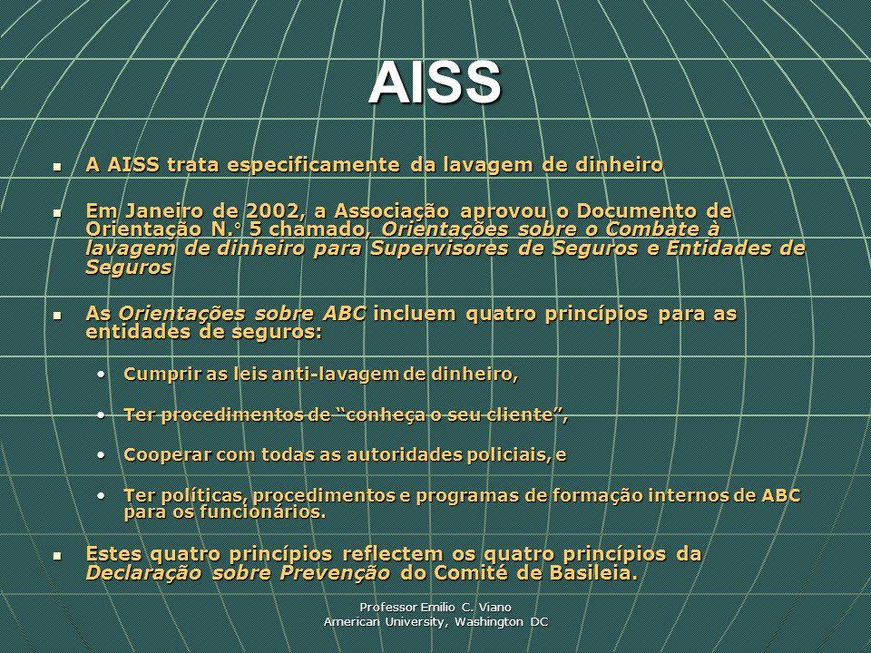 Professor Emilio C. Viano American University, Washington DC AISS A AISS trata especificamente da lavagem de dinheiro A AISS trata especificamente da