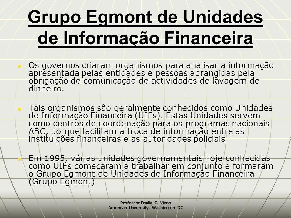 Professor Emilio C. Viano American University, Washington DC Grupo Egmont de Unidades de Informação Financeira Os governos criaram organismos para ana