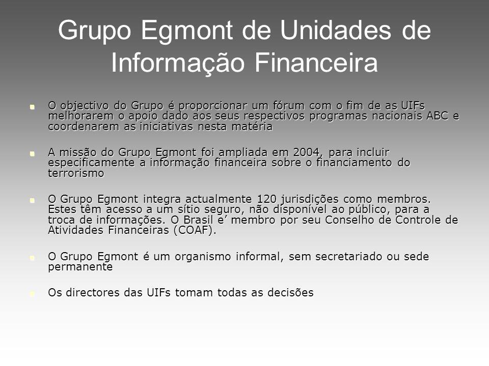 Grupo Egmont de Unidades de Informação Financeira O objectivo do Grupo é proporcionar um fórum com o fim de as UIFs melhorarem o apoio dado aos seus r