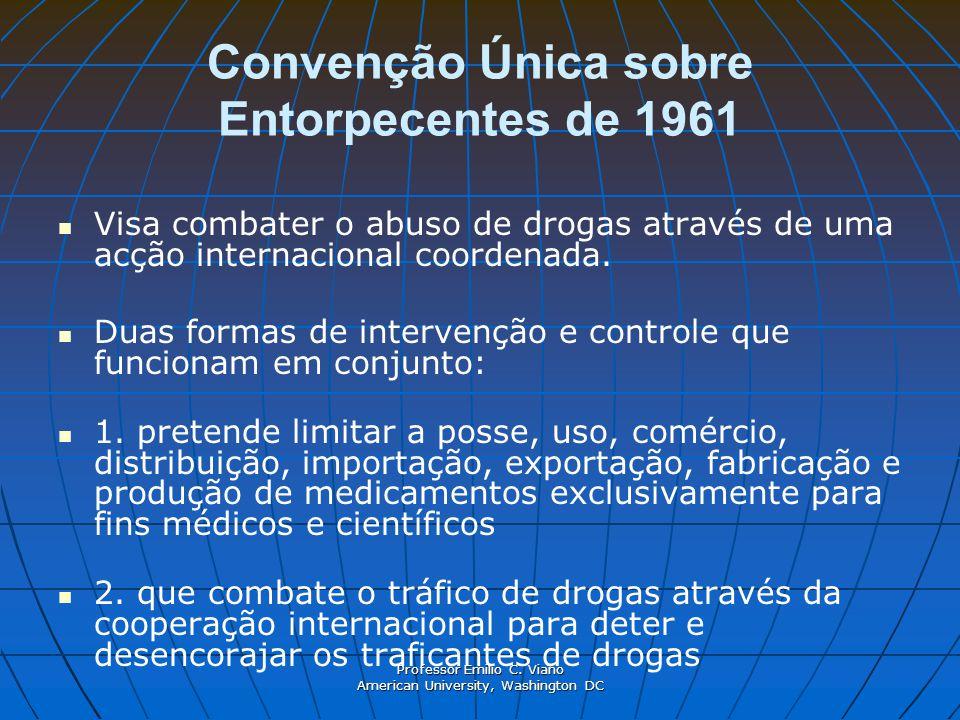 Professor Emilio C. Viano American University, Washington DC Convenção Única sobre Entorpecentes de 1961 Visa combater o abuso de drogas através de um