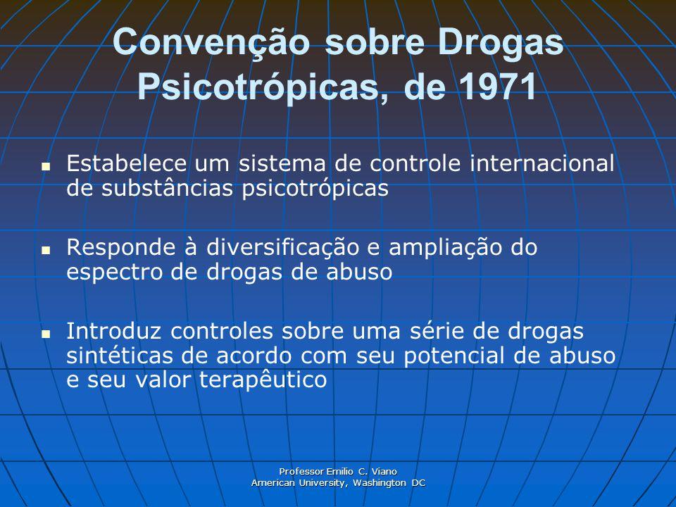 Professor Emilio C. Viano American University, Washington DC Convenção sobre Drogas Psicotrópicas, de 1971 Estabelece um sistema de controle internaci