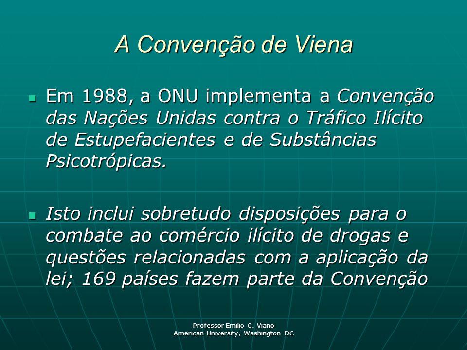 Professor Emilio C. Viano American University, Washington DC A Convenção de Viena Em 1988, a ONU implementa a Convenção das Nações Unidas contra o Trá