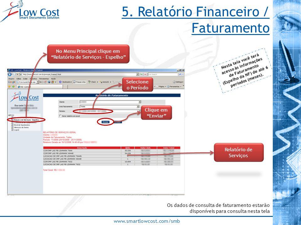 www.smartlowcost.com/smb 5. Relatório Financeiro / Faturamento Os dados de consulta de faturamento estarão disponíveis para consulta nesta tela No Men