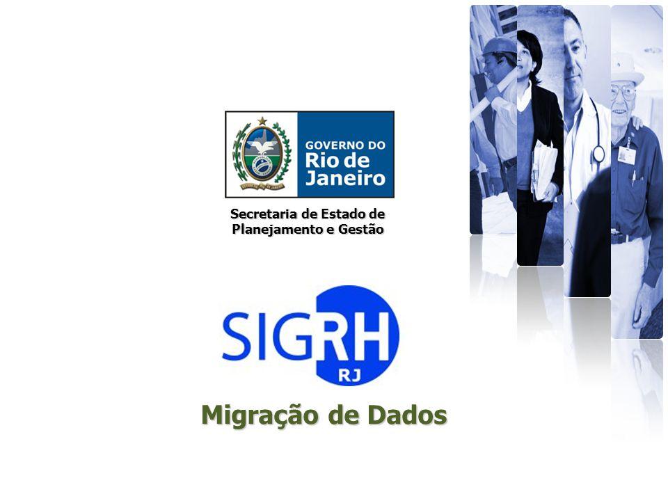 Secretaria de Estado de Planejamento e Gestão SIGRH – Migração da Base de Dados (SAPE e Sistemas Paralelos) SAPE- Dados Pessoais 642.335 642.335 registros Adm.