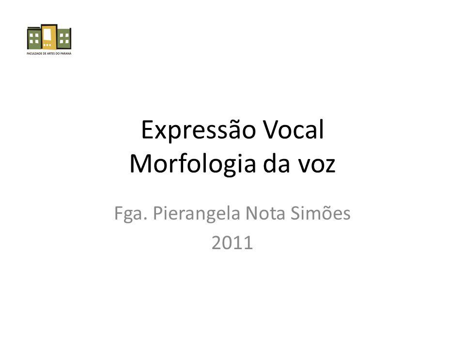 Expressão Vocal Morfologia da voz Fga. Pierangela Nota Simões 2011