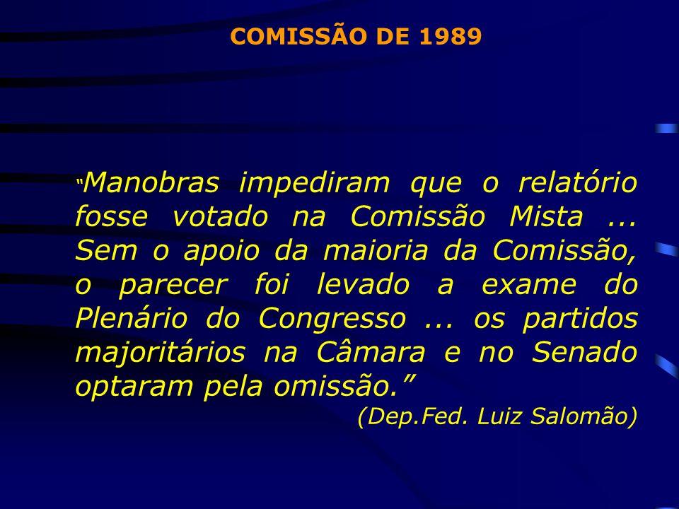"""COMISSÃO DE 1989 """" Manobras impediram que o relatório fosse votado na Comissão Mista... Sem o apoio da maioria da Comissão, o parecer foi levado a exa"""