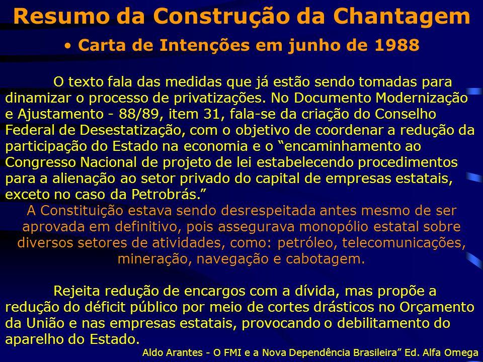 Resumo da Construção da Chantagem Carta de Intenções em junho de 1988 O texto fala das medidas que já estão sendo tomadas para dinamizar o processo de