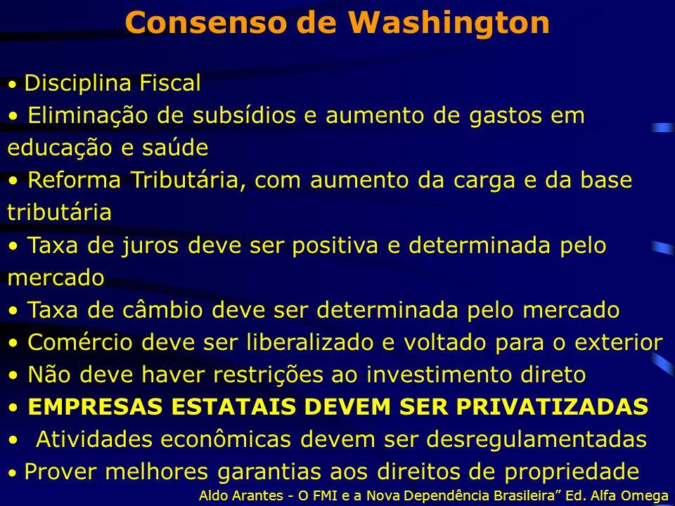 Consenso de Washington Disciplina Fiscal Eliminação de subsídios e aumento de gastos em educação e saúde Reforma Tributária, com aumento da carga e da