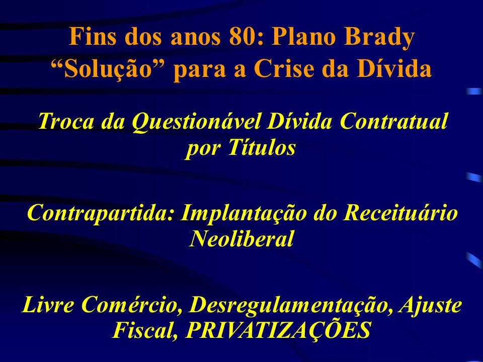 """Fins dos anos 80: Plano Brady """"Solução"""" para a Crise da Dívida Troca da Questionável Dívida Contratual por Títulos Contrapartida: Implantação do Recei"""