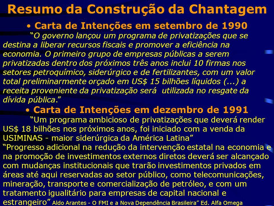 """Resumo da Construção da Chantagem Carta de Intenções em setembro de 1990 """"O governo lançou um programa de privatizações que se destina a liberar recur"""