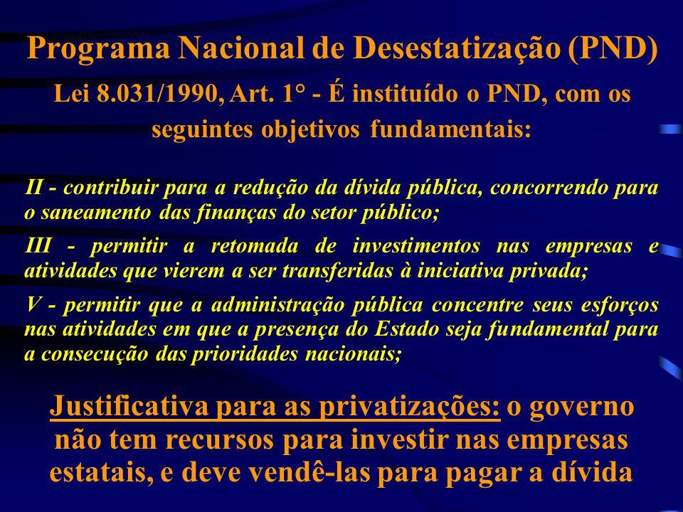 Programa Nacional de Desestatização (PND) Lei 8.031/1990, Art. 1° - É instituído o PND, com os seguintes objetivos fundamentais: II - contribuir para