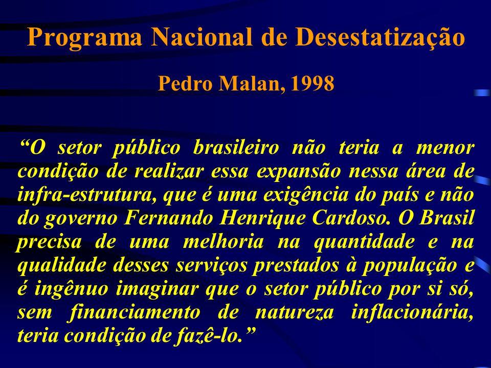 """Programa Nacional de Desestatização Pedro Malan, 1998 """"O setor público brasileiro não teria a menor condição de realizar essa expansão nessa área de i"""