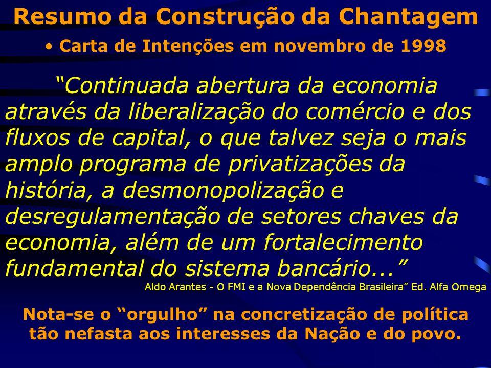 """Resumo da Construção da Chantagem Carta de Intenções em novembro de 1998 """"Continuada abertura da economia através da liberalização do comércio e dos f"""