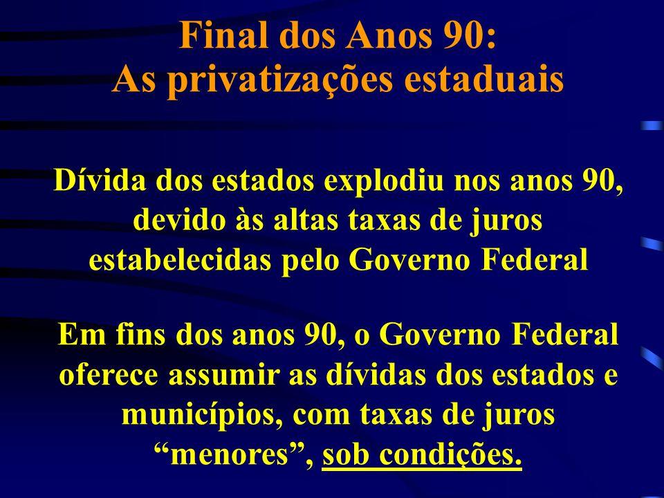 Final dos Anos 90: As privatizações estaduais Dívida dos estados explodiu nos anos 90, devido às altas taxas de juros estabelecidas pelo Governo Feder