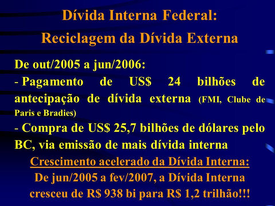 Dívida Interna Federal: Reciclagem da Dívida Externa De out/2005 a jun/2006: - Pagamento de US$ 24 bilhões de antecipação de dívida externa (FMI, Club