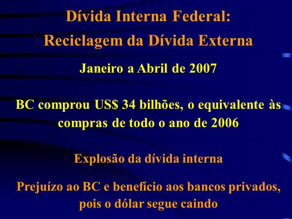 Dívida Interna Federal: Reciclagem da Dívida Externa Janeiro a Abril de 2007 BC comprou US$ 34 bilhões, o equivalente às compras de todo o ano de 2006