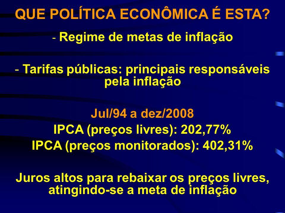 QUE POLÍTICA ECONÔMICA É ESTA? - Regime de metas de inflação - Tarifas públicas: principais responsáveis pela inflação Jul/94 a dez/2008 IPCA (preços