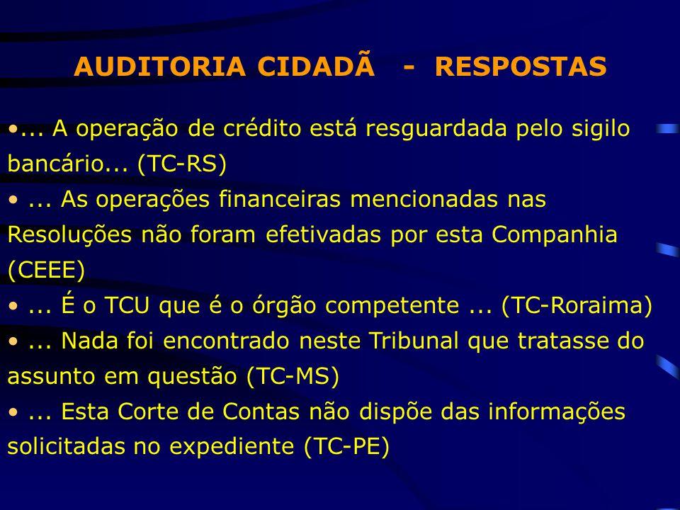AUDITORIA CIDADÃ - RESPOSTAS... A operação de crédito está resguardada pelo sigilo bancário... (TC-RS)... As operações financeiras mencionadas nas Res