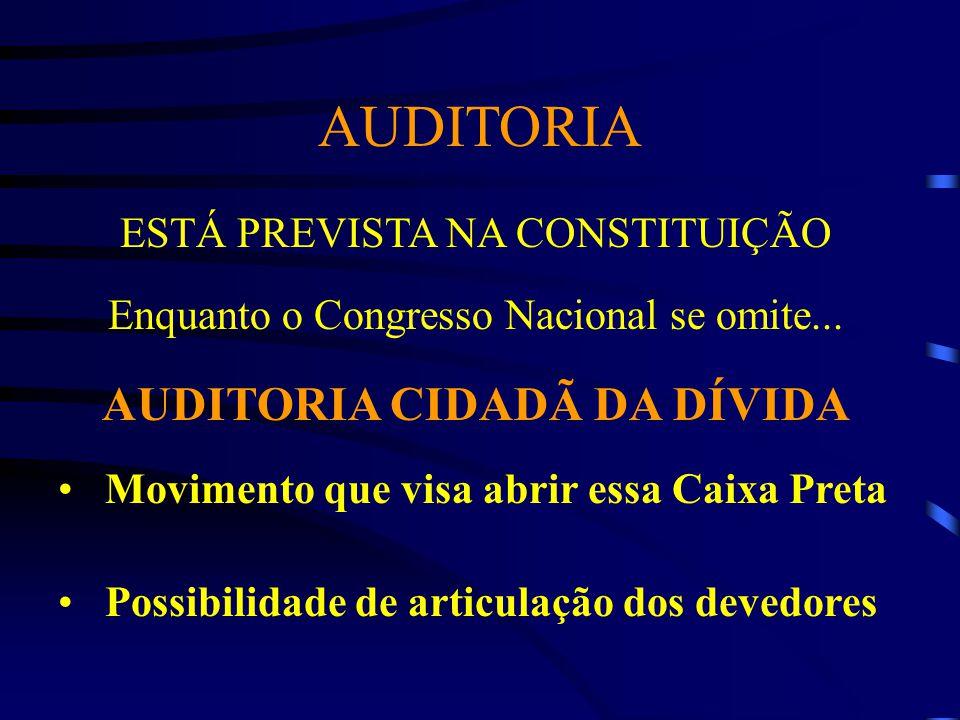 AUDITORIA ESTÁ PREVISTA NA CONSTITUIÇÃO Enquanto o Congresso Nacional se omite... AUDITORIA CIDADÃ DA DÍVIDA Movimento que visa abrir essa Caixa Preta