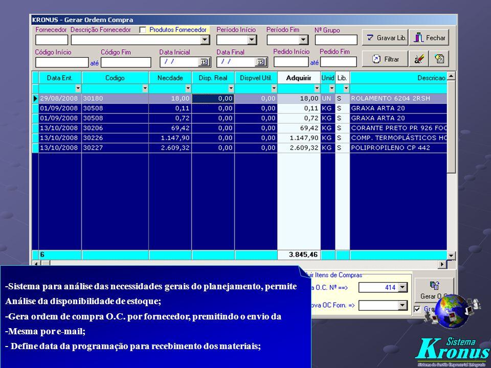 - Determinação dos Dados da Ordem de Compra - O.C. e seus itens a adquirir definidos automaticamente pelo Planejamento; - Inclusão/Alteração de Produt