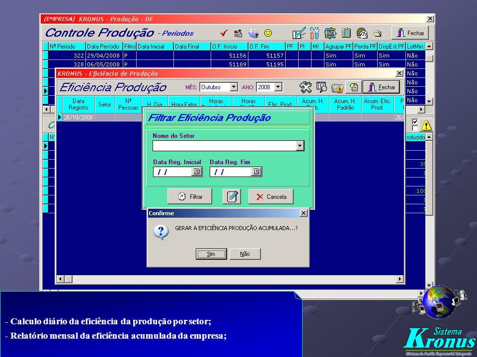 - Emissão das O.F. p/ a produção c/ base no Planejamento realizado; - Lançamento das O.F. produzidas atualizando o Estoque M.P. e Produtos - Acompanha