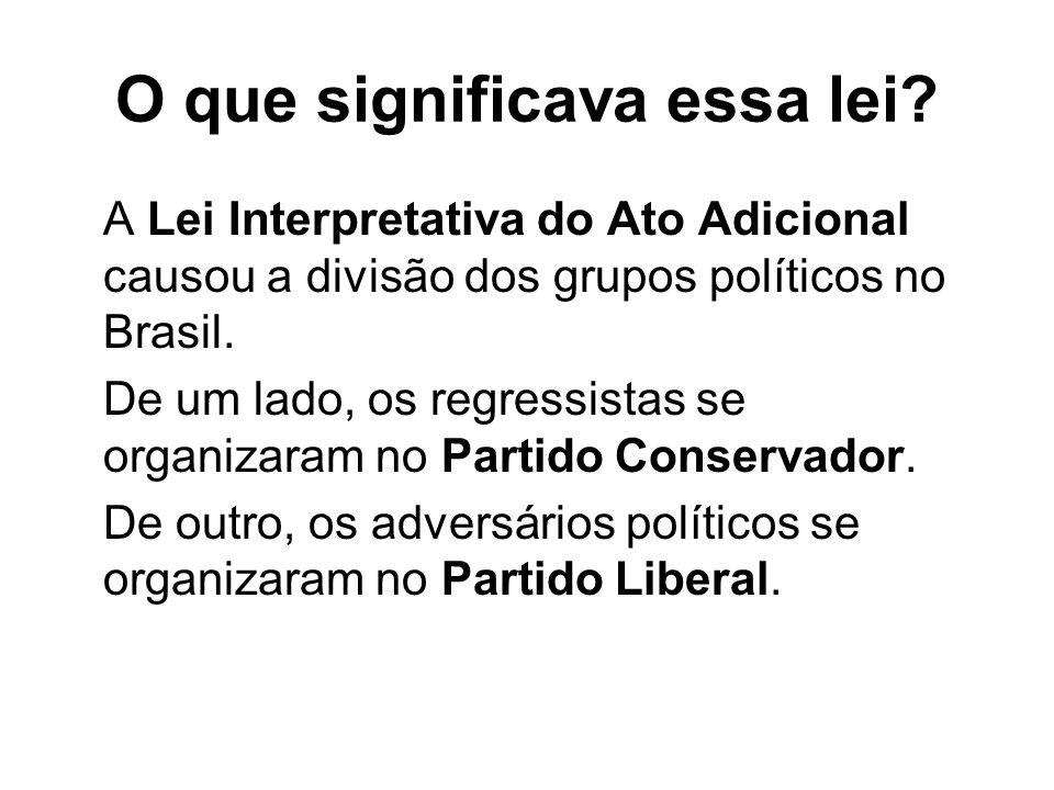 O que significava essa lei? A Lei Interpretativa do Ato Adicional causou a divisão dos grupos políticos no Brasil. De um lado, os regressistas se orga