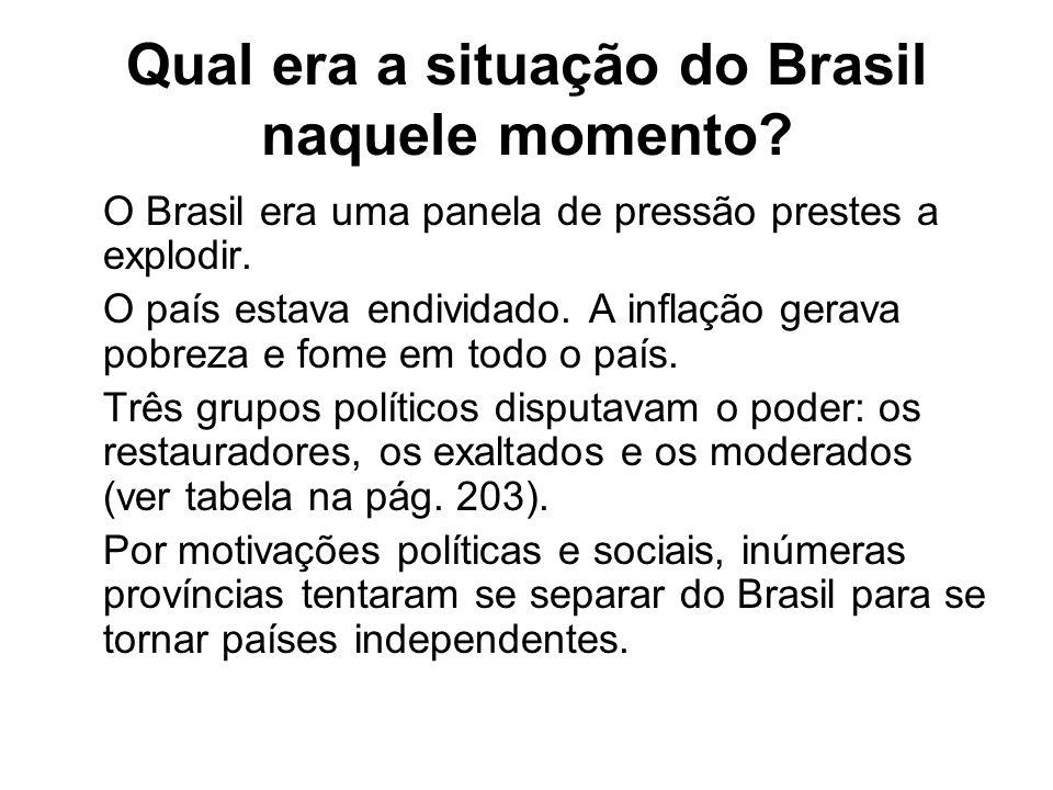Qual era a situação do Brasil naquele momento? O Brasil era uma panela de pressão prestes a explodir. O país estava endividado. A inflação gerava pobr