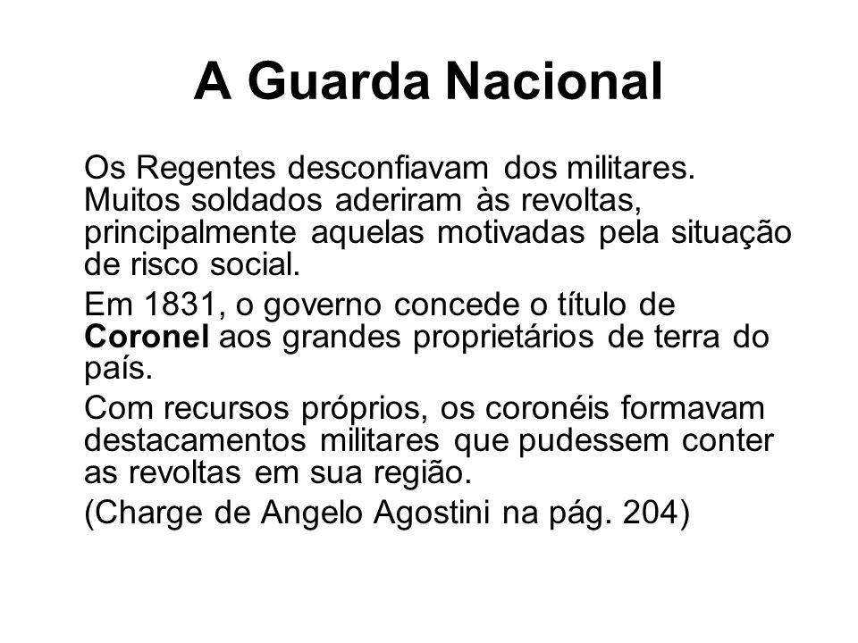 A Guarda Nacional Os Regentes desconfiavam dos militares. Muitos soldados aderiram às revoltas, principalmente aquelas motivadas pela situação de risc